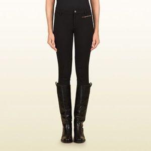 Gucci Black  Pants, Suede Knee Equestrian Line, 40